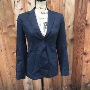 Theory Striped Navy Blue Blazer